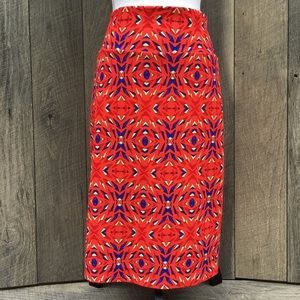 Lularoe Red Color Block Midi Skirt Sz XL